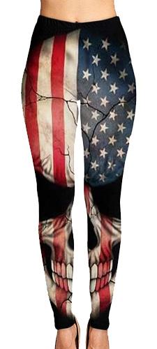 American flag skull leggings
