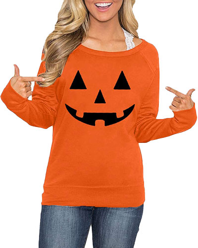 womens long sleeve pumpkin shirt