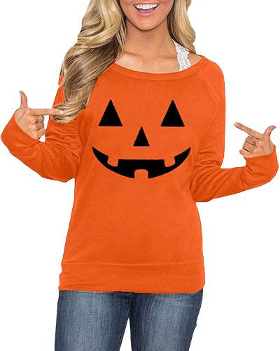 womens long sleeve pumpkin shirt