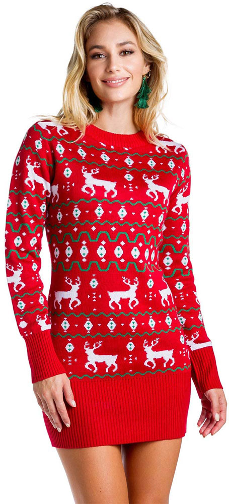 red reindeer Christmas sweater