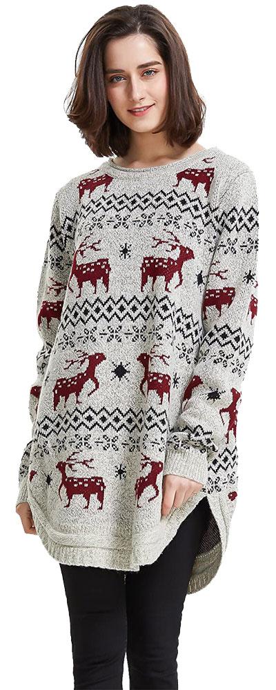 Snowflake reindeer christmas sweater