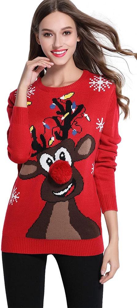 Women's reindeer Christmas sweater